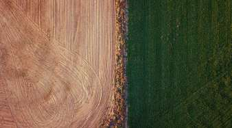 Um padoque irrigado ao lado de um prado arado numa fazenda nos arredores da cidade de Mudgee.