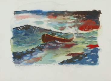 """Uma aquarela do filme """"O Bom Rebelde"""" (1997). Nas costas, lê-se a seguinte dedicatória: """"Do Gus [Van Sant] para Robin - Vira o teu barco! Bom para ti! Can a Corn!"""". Foto: Sotheby's New York"""