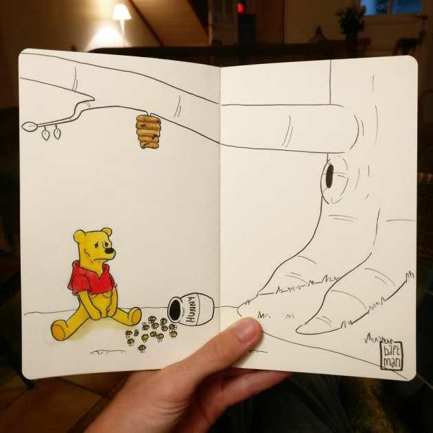 """Winnie-the-Pooh"" Desenho: Baptiste Drausin"