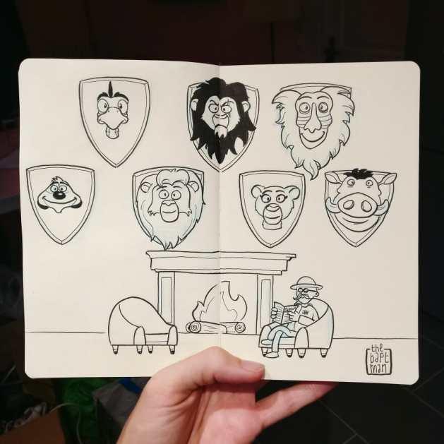 """""""O Rei Leão"""" Desenho: Baptiste Drausin"""