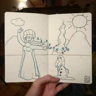"""""""Frozen"""" Desenho: Baptiste Drausin"""