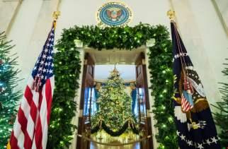 2018 - As decorações de Natal vistas da entrada da Sala Azul. Foto: UPI/Barcroft Images
